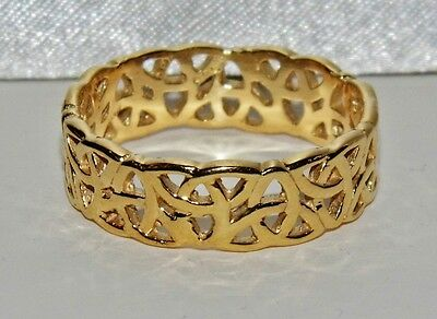 Men's 9 Ct Yellow Gold On Silver Filigree Celtic Band Ring ~ Size Q