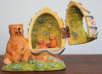 K's Collection Easter Bear w/ cub sitting beside Easter egg w/ more cubs inside