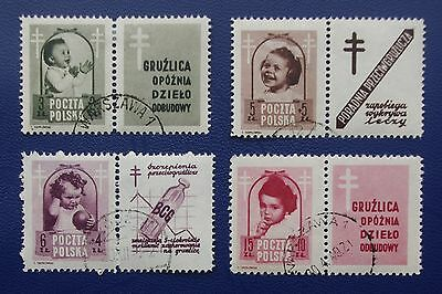 POLAND- 1948 ANTI TUBERCULOSIS CAMPAIGN Full Set of 4 - Scarcer Used Examples