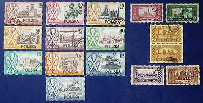 POLAND- 1954 2 Complete Sets - Used