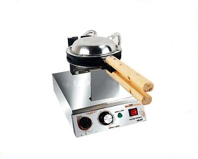 Single Head Commercial Stainless Steel 1400W Non Stick Plates Egg Waffle Maker*