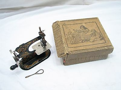 Vintage Tole Painted German Child's Toy Sewing Machine w/Box Hand Crank