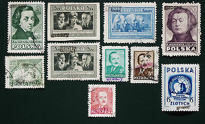 POLAND - 1950-1951 GROSZY OVERPRINTS Collection of 10.