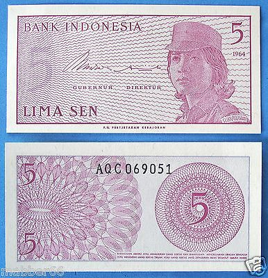 Unc Crisp New 5 Lima Sen Indonesia Banknote 1964 Asia World Paper Money Currenc