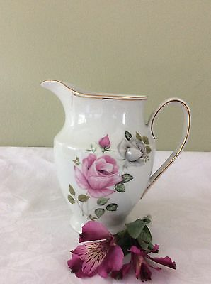 Very Pretty Shabby Chic Pink Rose Patterned Jug Perfect For Flowers!