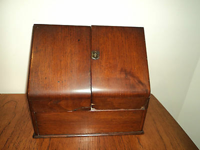 Antique Victorian Mahogany Slope Front Stationary Cabinet Box
