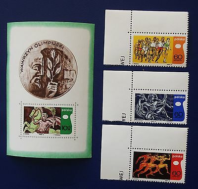 POLAND- 1970 BLOK 37 & Set of 3 INTERNATIONAL OLYMPIC ACADEMY - MNH