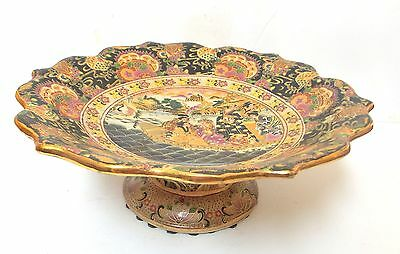 Japanese Pedestal Bowl Gold Trim Hand Painted Cloissone