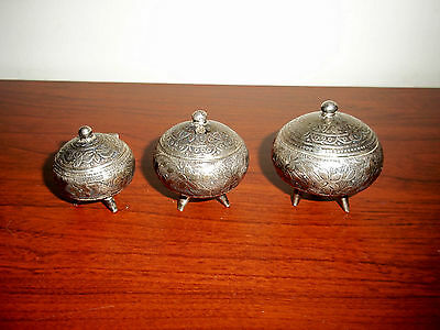 3pc Antique Sterling Silver Boxes Containers Salt Dip Spice or other 65.5 grams