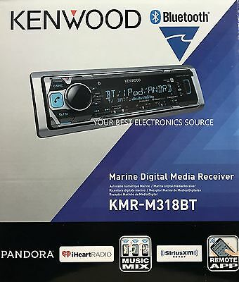 NEW KENWOOD KMR-M318BT Single DIN Bluetooth Mechless Marine Receiver