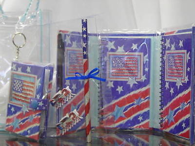 NEW 142 Patriotic Album Key Chain Hair Clip Notepad Set