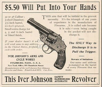 1900 Iver Johnson Arms & Cycle Safety Hammerless Automatic Revolver Pistol Ad