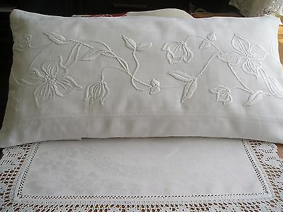 """Beautiful Bed Display Cushion~French Pure Linen ~Hand Embroidery ~ 21.5"""" X 14.5"""""""
