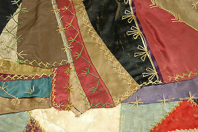 Antique Crazy Quilt Embroidered Stitching Study Piece 16 x 16 C