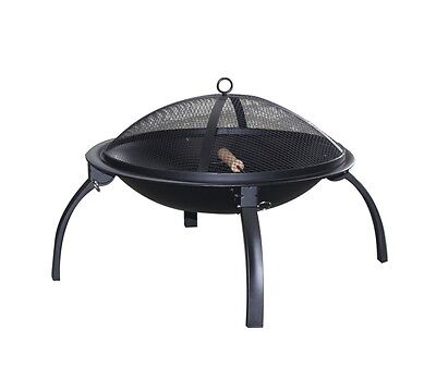 Pagoda Foldable Fire Pit BBQ with Mesh Lid Bg/Prg