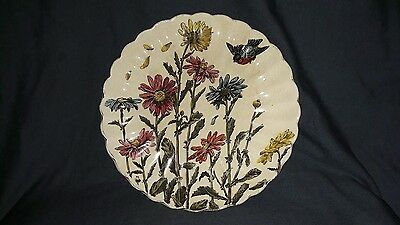 Ptetty Victorian Spode? Plate, Chrysanthemums & Bird.