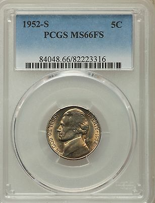 1952-S US Jefferson Nickel 5C - PCGS MS66 FS
