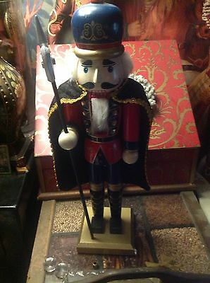 VINTAGE WOODEN NUTCRACKER KING SOLDIER, WITH PIKE, HANDPAINTED, HIGH QUAL 15in