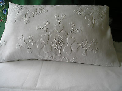 Beautiful Bed Display Cushion ~ Antique Embossed Marcella & French Linen
