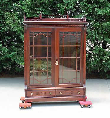 Eastlake Victorian Walnut Bookcase with Spindle Gallery & Working Key c1880's