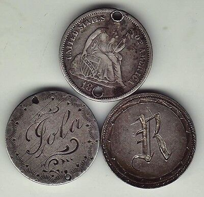 3-Coins 1800's DATED US Silver Seated Liberty, Barber Dimes Crafted LOVE TOKENS