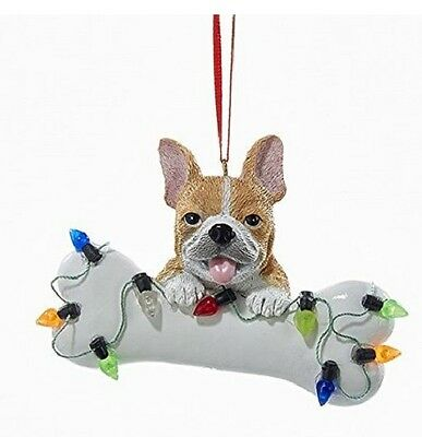 French Bulldog Puppy with Large Bone and Christmas Lights Ornament Dog A1680FB