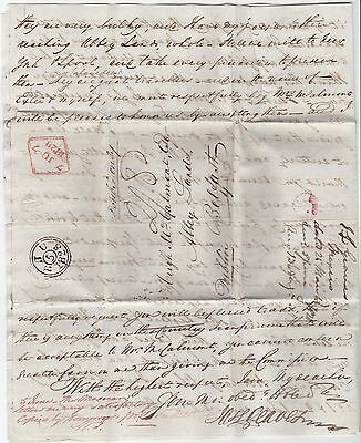 1828 MEXICO J GRAVES LETTER POSTED LONDON TO HUGH McCALMONT ABBEY LANDS BELFAST