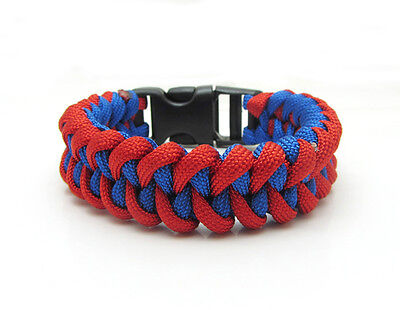New Paracord Parachute Rope Bracelet Wristband Survival Hiking Blue-Red