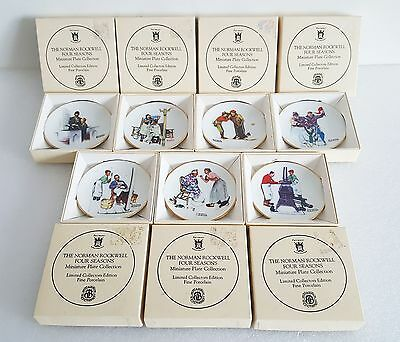 Lot of 7 Norman Rockwell Four Seasons Miniature Porcelain Plate Collection Set