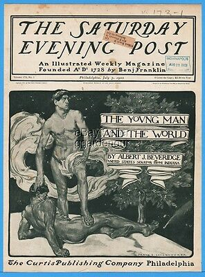 1900 Saturday Evening Post COVER ONLY Frank FX Leyendecker Nude Men Gay Interest