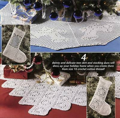 CROCHET PATTERN BOOK THREAD TREE SKIRTS & STOCKINGS 4 Christmas Holiday Designs
