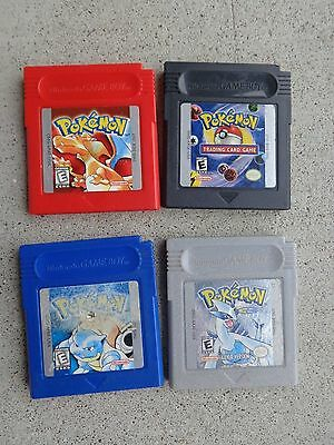4 Pokemon Silver Blue Red & Trading Card  Version  Nintendo Game Boy  Authentic