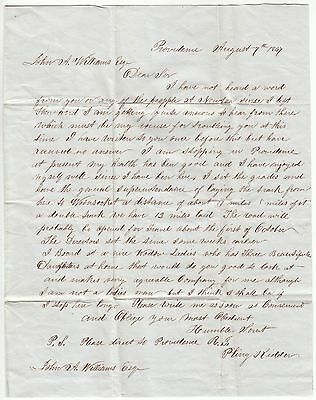 1847 Providence Ri Letter From Engineer Building Providence & Worcester Railroad