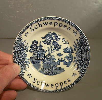 Vintage English BLUE WILLOW China Advertising Dish -- SCHWEPPES TONIC