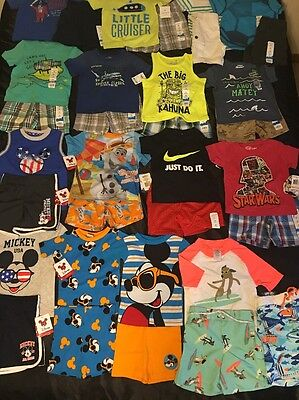 NWT Boys 2T Spring Summer Lot Mickey Mouse Pajamas Outfits Carter's Swim Trunks