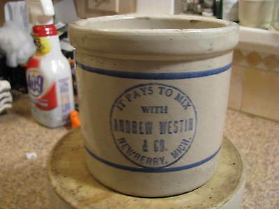 Newberry, Mich. Red Wing Beater Crock Jar Andrew Westin & Co.  RARE!! MICHIGAN
