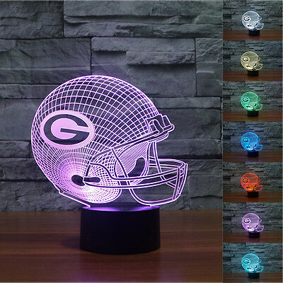 NFL Green Bay Packers 3D Night Light 7 Color Change LED Table Lamp Xmas Toy Gift