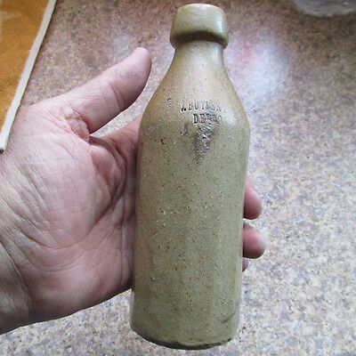 Detroit, Mich. J. Butler Stoneware 12-sided flavored beer bottle sarsaparilla