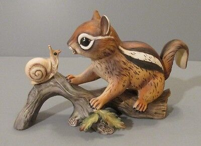 "Homco Masterpiece ""Chipmunk on Log Looking at a Snail"" Figurine"