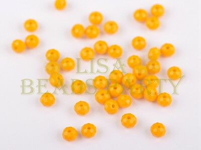50pcs 4x6mm Faceted Rondelle Crystal Glass Loose Spacer Bead Apricot Yellow
