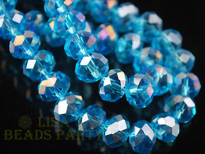 50pcs 8X6mm Rondelle Faceted Crystal Glass Loose Spacer Beads Lake Blue AB Craft