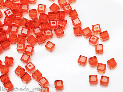 50pcs 4mm Cube Square Faceted Crystal Glass Findings Loose Spacer Beads Orange