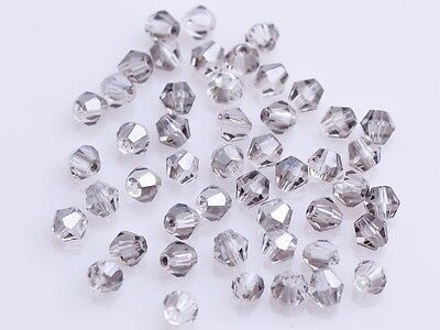 200x Wholesale 4mm Bicone Faceted Crystal Glass Loose Spacer Beads Light Grey