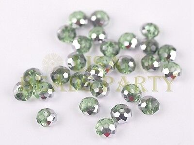 50pcs 4x6mm Faceted Rondelle Crystal Glass Loose Bead Half Silver Half Lt Green