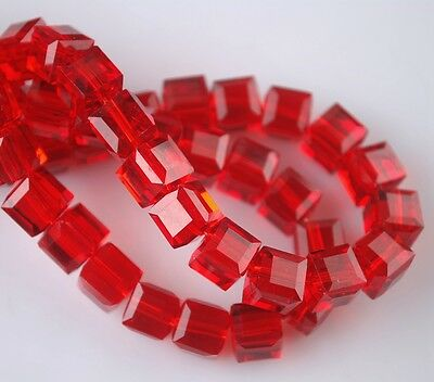 30pcs 6mm Cube Square Faceted Crystal Glass Jewelry Charm Loose Spacer Beads Red