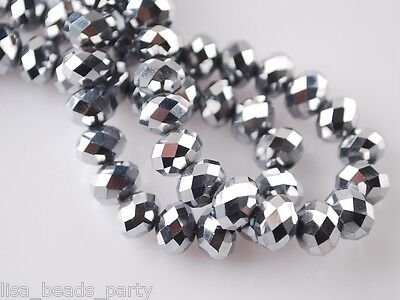 200pcs 3x2mm Faceted Rondelle Crystal Glass Bead Loose Spacer Beads White K