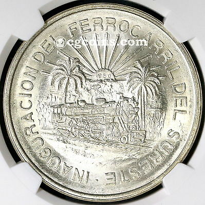 1950 NGC MS 64 MEXICO Silver 5 Pesos Southern Railroad Commem Coin (17062302C)