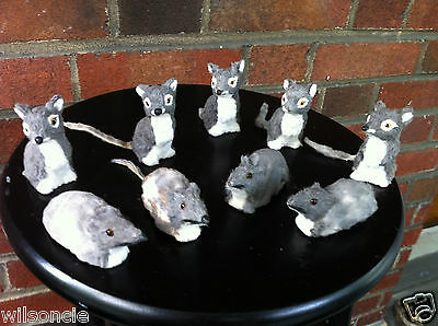 Lot of 9 Halloween Creepy Furry Gray & White Real Fur Mouse / Mice