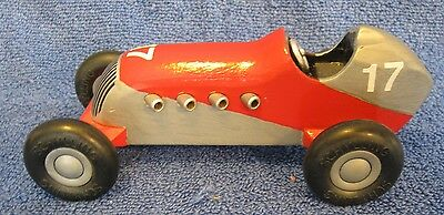 SCHYLLING Wood Race Car. #17. Red/Silver. Repainted. Push Toy. Grand Prix. Indy