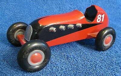 SCHYLLING Wood Race Car. #81. Red/Black. Repainted. Push Toy. Grand Prix. Indy